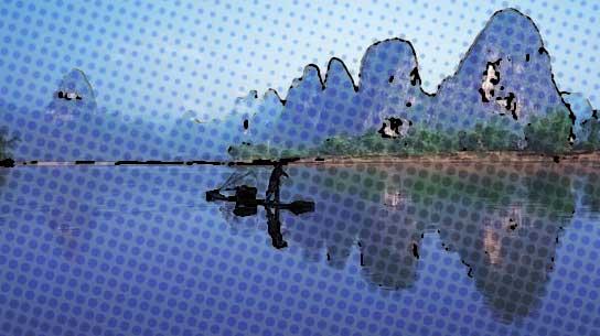 卡通画:桂林山水