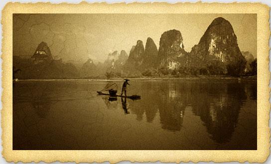 相片老化:桂林山水