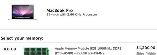 MacBook Pro 推出8GB内存模组,售价1200美元
