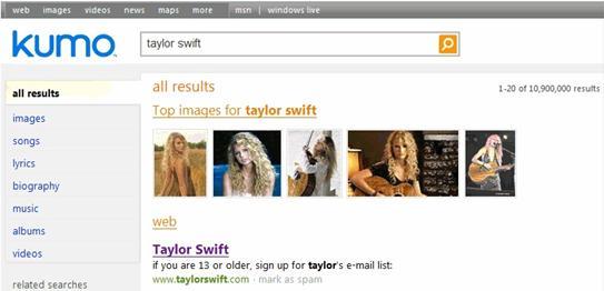 微软新搜索引擎Kumo搜索界面Taylor Swift